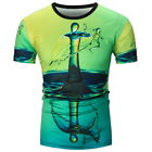 Men's 3D Water Drop Printed Shirt Multicolor  Men's  Round Tops T-Shirt