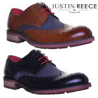 Justin Reece Denim mix Leather Mens Office Work Leather Formal Lace Up Shoes UK