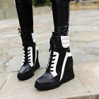 Fashion Athletic Womens lAnkle Boots Lace up Warm wedge heel Shoes plus size