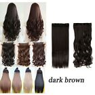 UK One Piece Clip in Human Hair Extensions Half Full Head Real Synthetic Brown