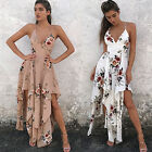 Women Evening Party Long Maxi Dress lady summer Floral Print Boho backless Dress
