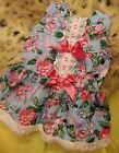DREAM SPANISH BLUE PINK ROSE LINED SUMMER 2017  DRESS 0-5 years OR REBORN DOLLS