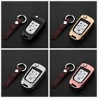 For Buick Car Key Fob Cover Aircraft Aluminum Stylish Case Genuine Leather Chain