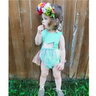 Summer Newborn Baby Girls Flower Lace+Headhand Bodysuit Jumpsuit Outfits Clothes