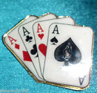 Magic Poker Lapel Pin Four 4 Aces Card Fan plated in gold Colorful Tie Jacket