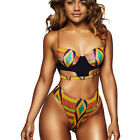 Women's African Print Bikini Set Swimwear Push-Up Padded Bra Swimsuit Beachwear