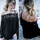 Women Off The Shoulder Long Sleeve Blouse Ladies Loose Casual Lace T Shirt Tops
