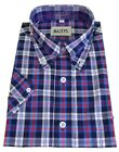 Warrior Black Gingham 100% Cotton Short Sleeved Shirts Small to 5Xlarge