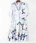 2017 occident Blue and white porcelain printing half sleeves lady dress makings