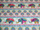 INDIAN GARDEN - THE CRAFT COTTON CO - PINK ELEPHANTS ON WHITE & GREY100% cotton