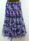 HEART PURPLE FLORAL LONG TIERED FULL NET UNDER SKIRT ELASTIC WAIST LAGENLOOK NWT