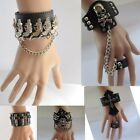 Antique Alloy Gothic Skull Charm Bracelet Leather Punk Rock Cuff Wristband