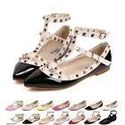 Women Girl Strap Studded Rivet Metal Flat Pointed Toe Shoes Single Sandals Shoes