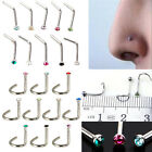 10X Surgical Steel Small Gem Crystal Screw Nose Stud Body Piercing L Shape NEW