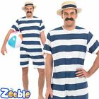 Mens 1920s Bathing Suit Victorian Beach Old Fashioned Swimsuit Fancy Dress