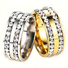 CHIC Size 8-10 Unisex Stainless Steel Ring Men/Women's Wedding Band Silver/Gold