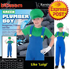 CK936 Plumber Green Boys Kids Luigi Mario Bros Fancy Gaming Nintendo Costume