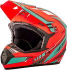 Gmax MX46 Uncle Off Road Motorcycle Helmet Flat Orange/Teal Adult All Sizes