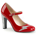 Red Silver Lightning Bolt Drag Queen 70s Rock Star Large Size Womans Shoes 13 14