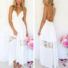 Womens Maxi Boho Lace Summer Beach Long Skirt Evening Cocktail Party Dress White