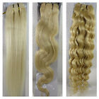 """15""""-36"""" Human Hair Extensions Weft Weaves Straight Wavy Curly #60 Blonde 100gr"""