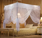 White Lace 4 Corner Post Bed Canopy Mosquito Netting Twin Full Queen King Size