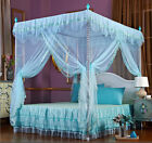 Light Blue 4 Corners Post Bed Canopy Mosquito Netting For Twin Full Queen Size