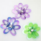 handmade sequins rhinestone multiple layers flower clothes applique sew 5pc H146