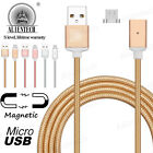 ALIENTECH 2.4A Quick Magnetic Braided Micro USB Charging Cable Wire Adapter Lot