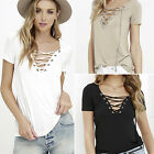 Summer Womens V Neck Lace Up T-Shirt Short Sleeve Loose Tops Casual Blouse CH