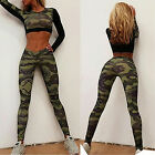 Women's Elastic Sport Long Sleeve Tracksuit Crop Tops Pants Outwear Running Yoga