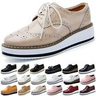 New Womens Platform Wedge Heels Shoes Flat Lace Up Brogue Oxford Chunky Creepers