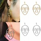 Face Shape Hollow Silver/Gold Stud Dangle Ear Earrings Women Lady Jewelry New