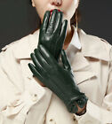 Lady's elegant back three lines with button top real leather lambskin gloves