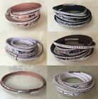 NEW Wrap Around Crystal Rhinestone Snake Print Leather Bracelet Bangle UK Seller