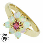 BJC® 9ct Yellow gold Ruby & Opal cluster size M engagement dress ring R9