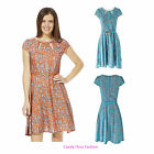 NEW WOMENS CLEARANCE PAISLEY PRINT BELTED LADIES FLARE SKATER DRESS TOP