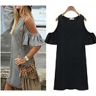 Womens Butterfly Sleeve Cute Strap Off Shoulder Blouse Vest Dresses Plus Size