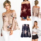 2017 UK Ladies Stretchy Off Shoulder Long Sleeve Beach Blouse Casual T  Shirt