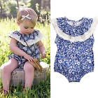 Blue white Newborn Baby Girls Floral Bodysuit Jumpsuit Romper Outfits Clothes