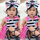 Adorable Newborn Baby Girl Romper Tutu Dress Striped Outfits Sunsuit Clothes