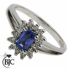 BJC® 18ct White gold Sapphire & Diamond Cluster size O engagement ring R54
