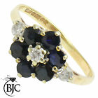 BJC® 9ct Yellow gold Sapphire & Diamond Cluster size M engagement ring R51