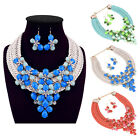Fashion Pendant Colorful Weaving Flower Necklace With Earrings Sets For Women
