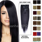 """7PCS PREMIUM Clip in Remy Real Human Hair Extensions Full Head Straight 80g 22"""""""