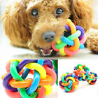 Dog Puppy Cat Pet Knot Cotton Rope knotted Rubber Sound Ball Bell Chewing Toy