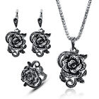 Fashion Women Jewelry Sets Bib Rose Flower Pendant Necklace Earrings Ring