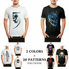Casual Skull Pattern Printed Men Cotton Large T-shirt Top Crew Neck Sports Tees