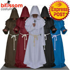 K369 Medieval Friar Hooded Robe Monk Cross Necklace Renaissance Costume Cosplay