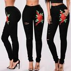 Women Embroidered Flower High Waist Skinny Denim Pants Pencil Jeans Trousers Hot